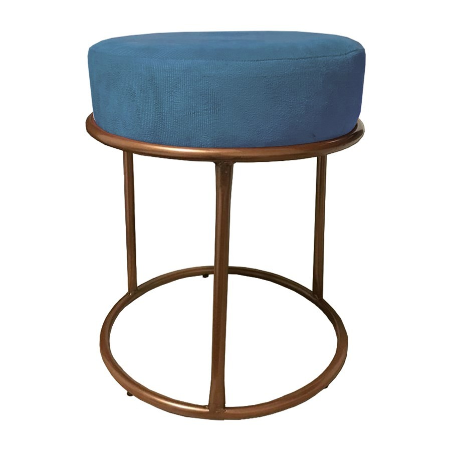 Puff Redondo Decorativo Luxe Base de Aço Cobre Suede Azul - Sheep Estofados