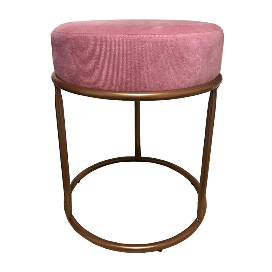 Puff Redondo Decorativo Luxe Base de Aço Cobre Suede Rosê - Sheep Estofados