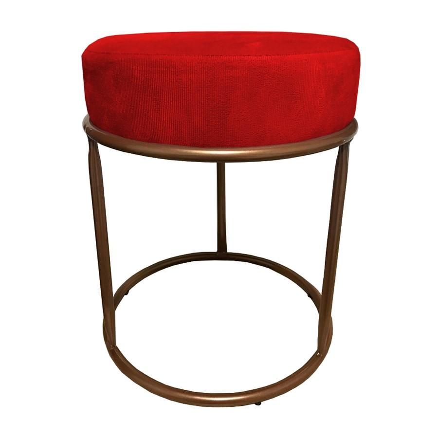 Puff Redondo Decorativo Luxe Base de Aço Cobre Suede Vermelho - Sheep Estofados