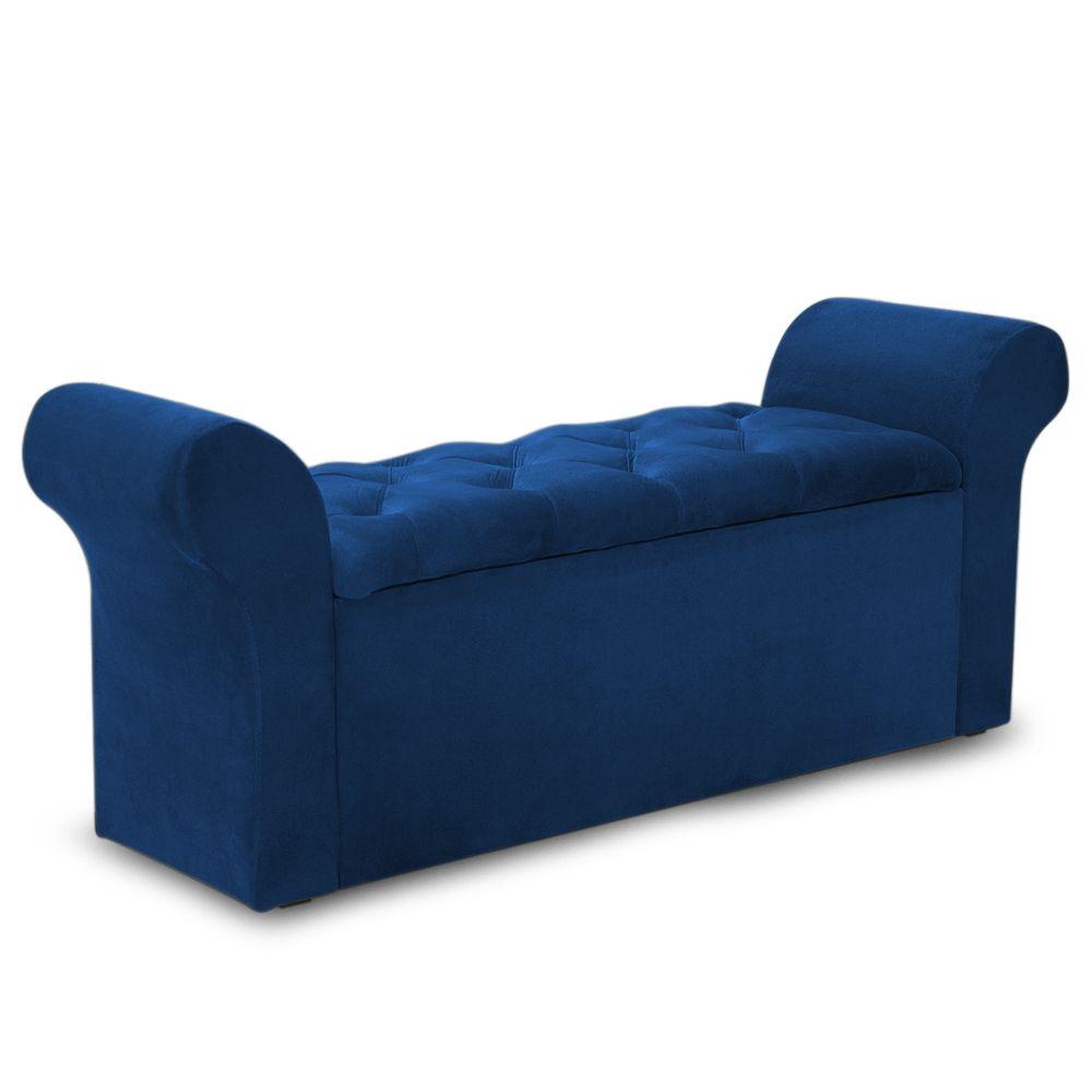 Recamier Calçadeira Baú Miami Veludo Azul - Simbal