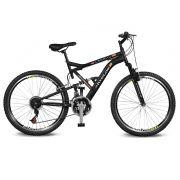 Bicicleta Kyklos Aro 26 Caballu 7.8 Suspensão Full Baixa A-36 21V Preto/Laranja