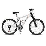 Bicicleta Kyklos Aro 26 Caballu 7.9 Suspensão Full Dupla Alta A-36 Branco/Laranja