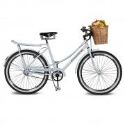 Bicicleta Kyklos Aro 26 Jolie 2.1 com Bagageiro Branco Azulado
