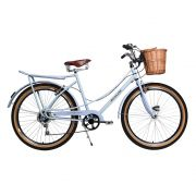 Bicicleta Kyklos Aro 26 Jolie Retrô Freio V-Brake 6V Branco Azulado