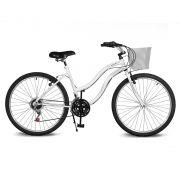 Bicicleta Kyklos Aro 26 Leme 6.5 Freio Manual com Cesta 21V Branco