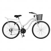 Bicicleta Kyklos Aro 26 Leme 6.9 Freio Manual com Cesta e Bagageiro 21V Branco