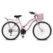 Bicicleta Kyklos Aro 26 Leme 6.9 Freio Manual com Cesta e Bagageiro 21V Rosa