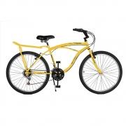 Bicicleta Kyklos Aro 26 Pontal 6.8 Freio Manual com Bagageiro Amarelo