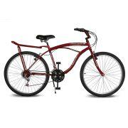 Bicicleta Kyklos Aro 26 Pontal 6.8 Freio Manual com Bagageiro Vermelho