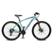 Bicicleta Kyklos Aro 29 Endurance 9.7 24V Freio a Disco com Suspensão A-36 Azul/Verde
