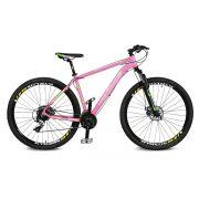 Bicicleta Kyklos Aro 29 Endurance 9.7 24V Freio a Disco com Suspensão A-36 Rosa/Verde