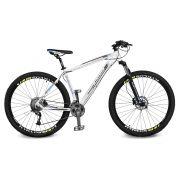Bicicleta Kyklos Aro 29 Endurance 9.9 27 V. Freio Hidráulico Suspensão com Trava Branco/Azul