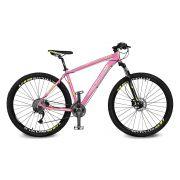 Bicicleta Kyklos Aro 29 Endurance 9.9 27 V. Freio Hidráulico Suspensão com Trava Rosa/Amarelo