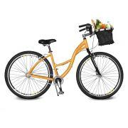 Bicicleta Kyklos Aro 29 Urbis 8.4 V-Brake sem Marcha com Cesta Amarelo