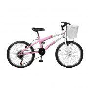 Bicicleta Master Bike Aro 20 Serena Plus 7 Marchas V-Brake Rosa/Branco