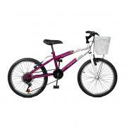 Bicicleta Master Bike Aro 20 Serena Plus 7 Marchas V-Brake Violeta/Branco