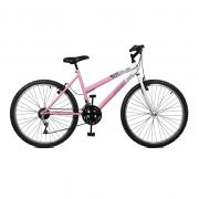 Bicicleta Master Bike Aro 26 Emotion 18 Marchas V-Brake Rosa/Branco