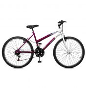 Bicicleta Master Bike Aro 26 Emotion 18 Marchas V-Brake Violeta/Branco
