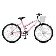 Bicicleta Master Bike Aro 26 Serena Freio V-Brake Rosa/Branco