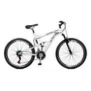 Bicicleta Master Bike Aro 26 Totem Suspensão Full Baixa A-36 21 Marchas Branco