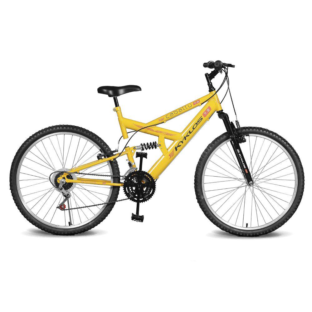 Bicicleta Kyklos Aro 26 Caballu 7.2 Alumínio Natural 21V Amarelo