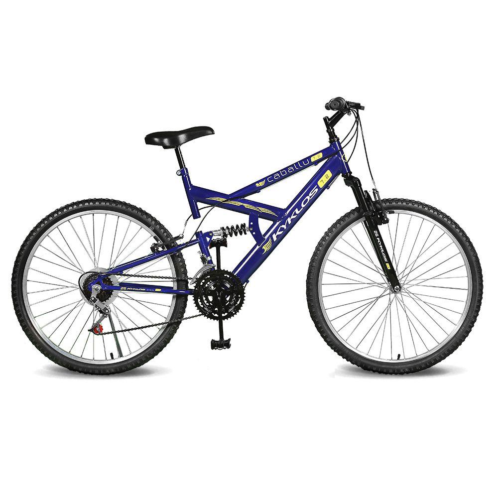 Bicicleta Kyklos Aro 26 Caballu 7.2 Alumínio Natural 21V Azul