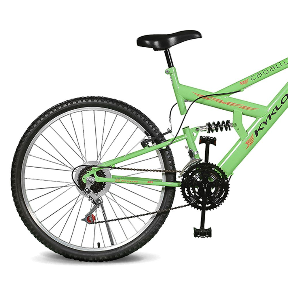 Bicicleta Kyklos Aro 26 Caballu 7.2 Alumínio Natural 21V Verde