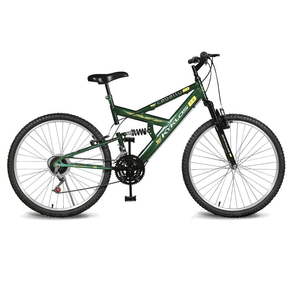 Bicicleta Kyklos Aro 26 Caballu 7.2 Alumínio Natural 21V Verde Bandeira