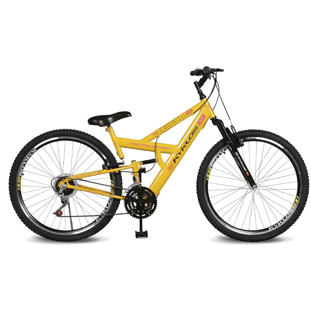 Bicicleta Kyklos Aro 26 caballu 7.4 Rebaixada 21V A-36 Amarelo