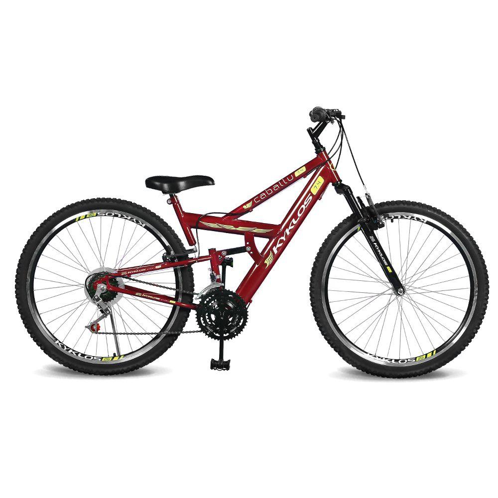 Bicicleta Kyklos Aro 26 caballu 7.4 Rebaixada 21V A-36 Vermelho