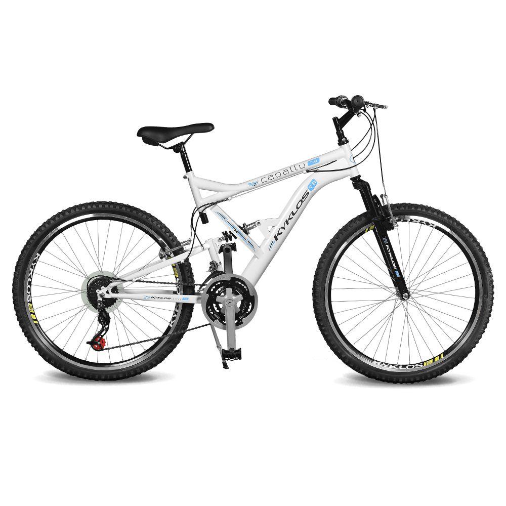 Bicicleta Kyklos Aro 26 Caballu 7.8 Suspensão Full Baixa A-36 21V Branco/Azul