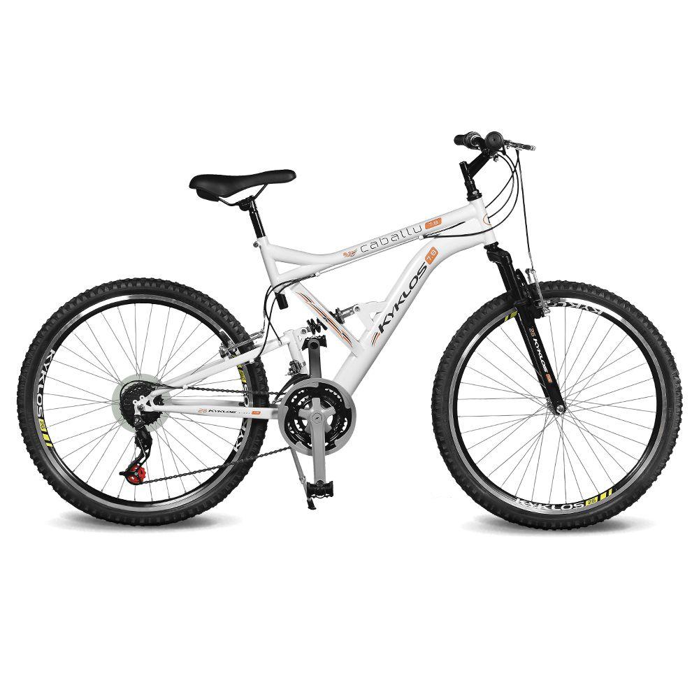 Bicicleta Kyklos Aro 26 Caballu 7.8 Suspensão Full Baixa A-36 21V Branco/Laranja