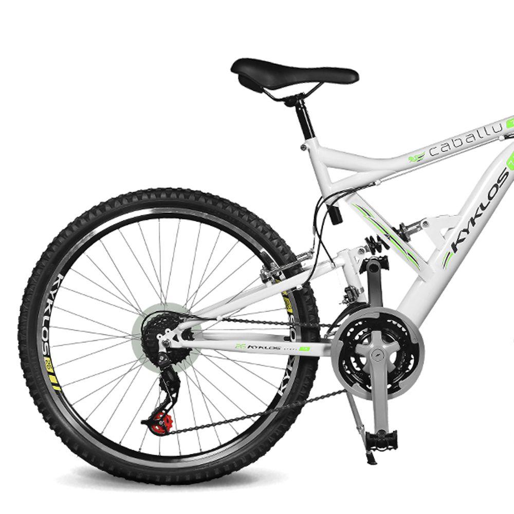 Bicicleta Kyklos Aro 26 Caballu 7.8 Suspensão Full Baixa A-36 21V Branco/Verde
