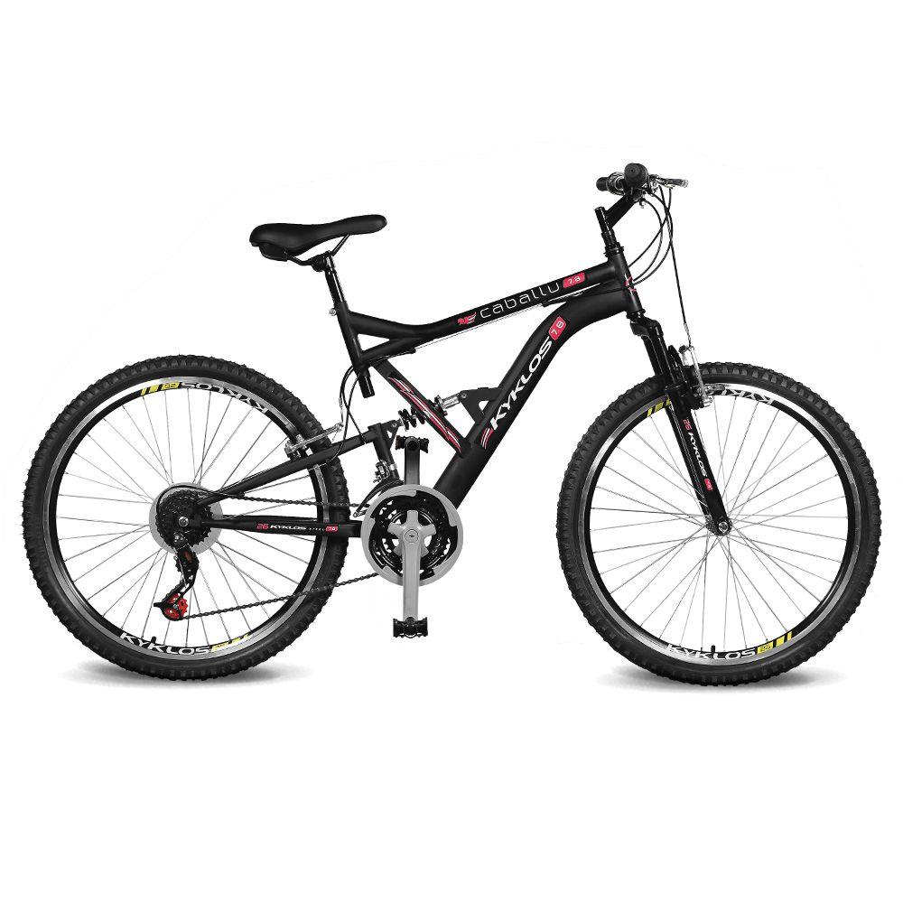 Bicicleta Kyklos Aro 26 Caballu 7.8 Suspensão Full Baixa A-36 21V Preto/Vermelho