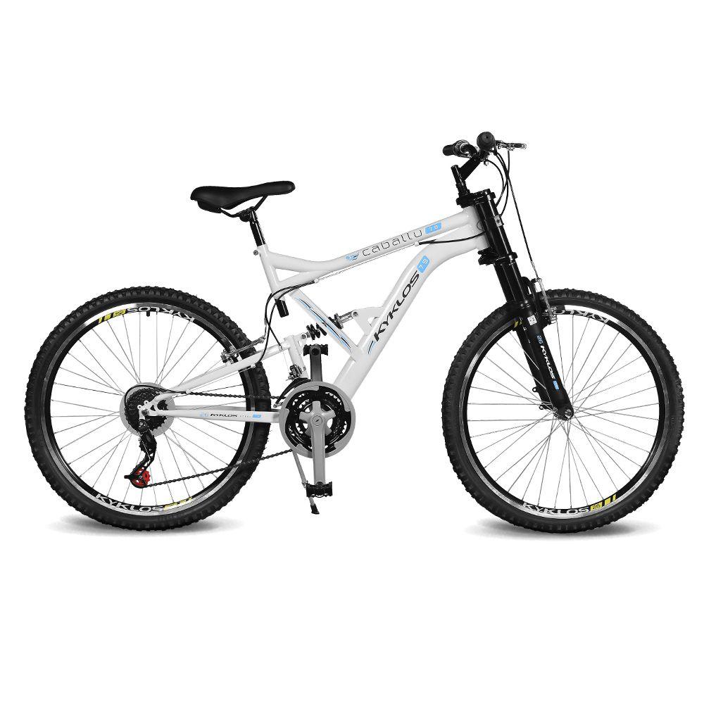 Bicicleta Kyklos Aro 26 Caballu 7.9 Suspensão Full Dupla Alta A-36 Branco/Azul