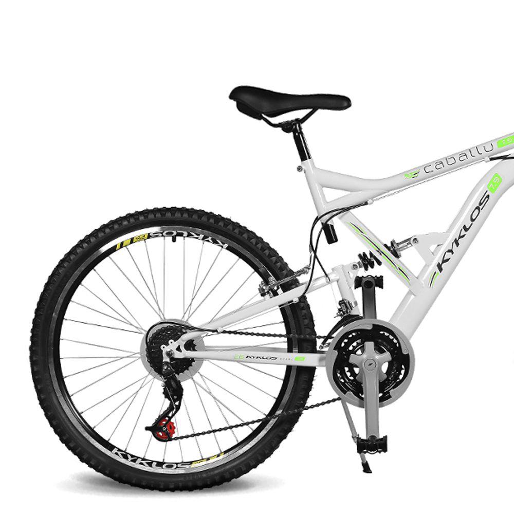 Bicicleta Kyklos Aro 26 Caballu 7.9 Suspensão Full Dupla Alta A-36 Branco/Verde