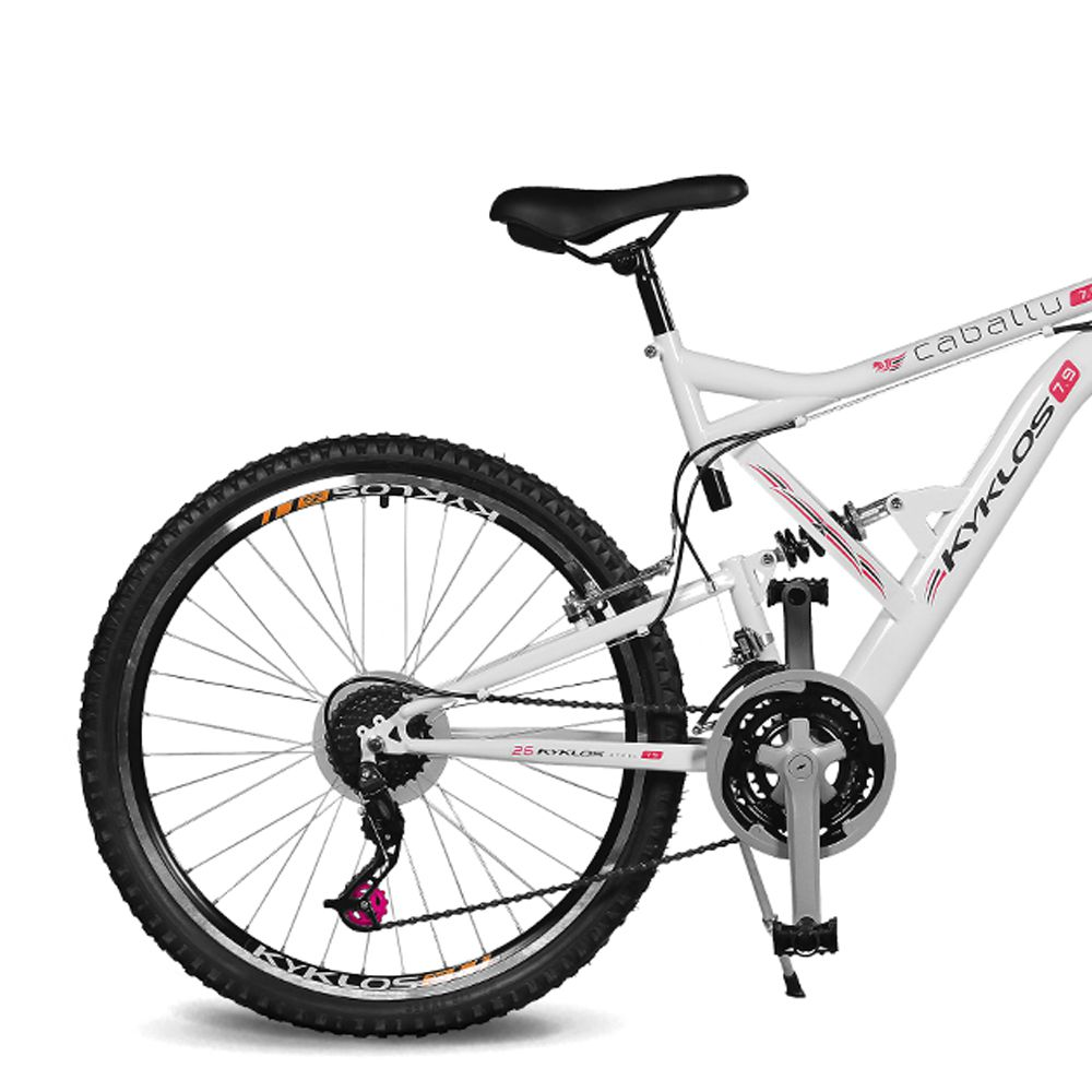 Bicicleta Kyklos Aro 26 Caballu 7.9 Suspensão Full Dupla Alta A-36 Branco/Vermelho