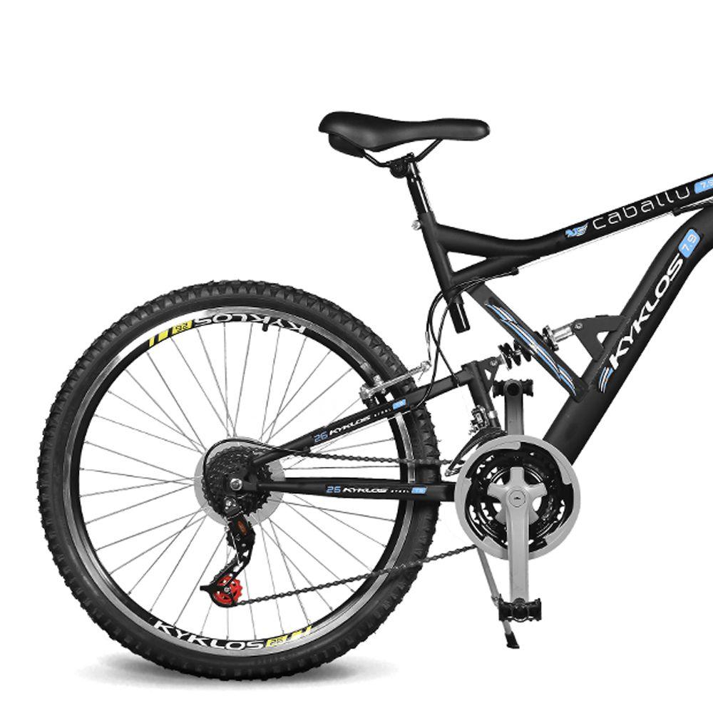 Bicicleta Kyklos Aro 26 Caballu 7.9 suspensão Full Dupla Alta A-36 Preto/Azul