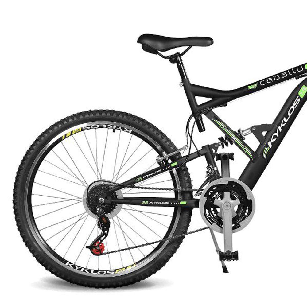 Bicicleta Kyklos Aro 26 Caballu 7.9 suspensão Full Dupla Alta A-36 Preto/Verde
