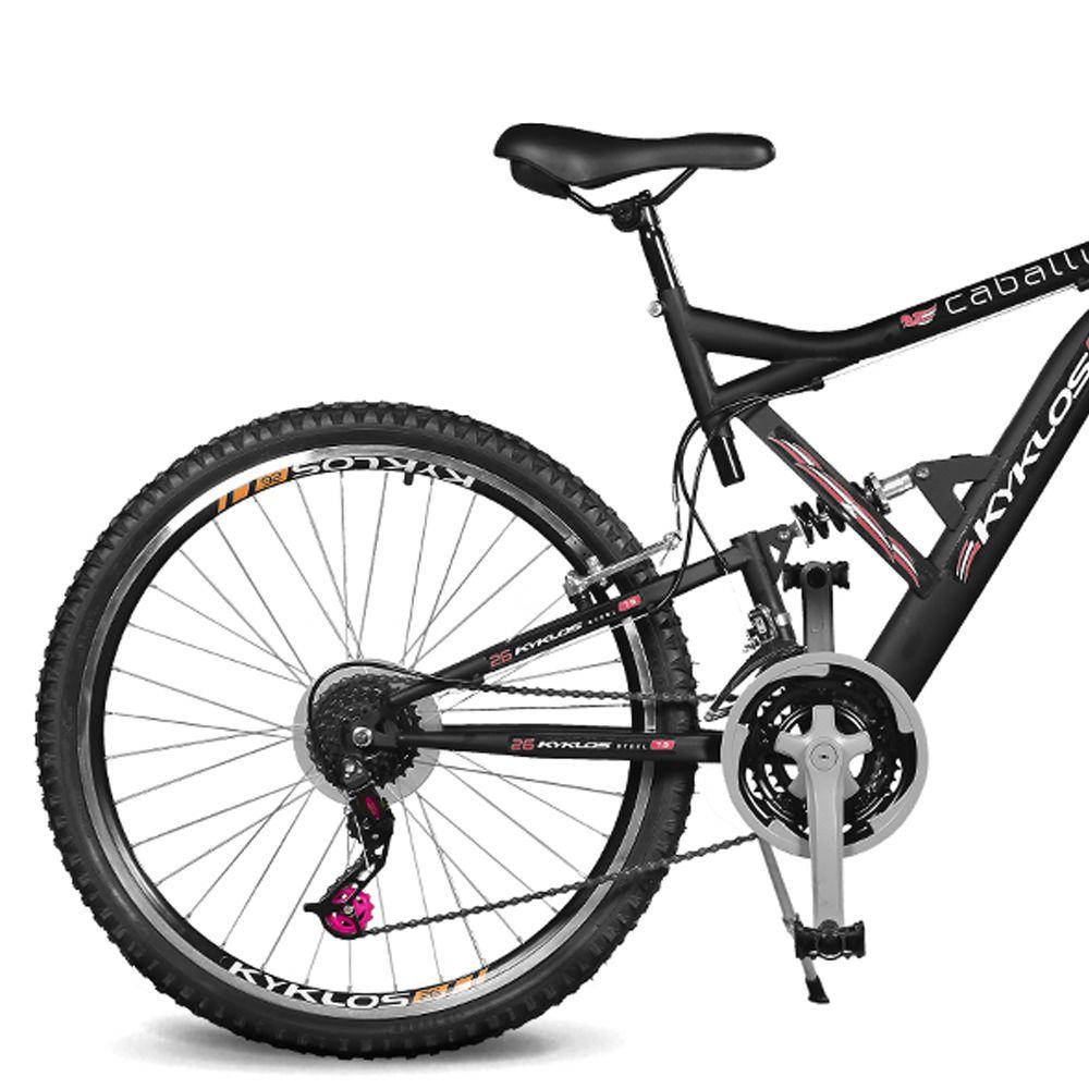 Bicicleta Kyklos Aro 26 Caballu 7.9 suspensão Full Dupla Alta A-36 Preto/Vermelho