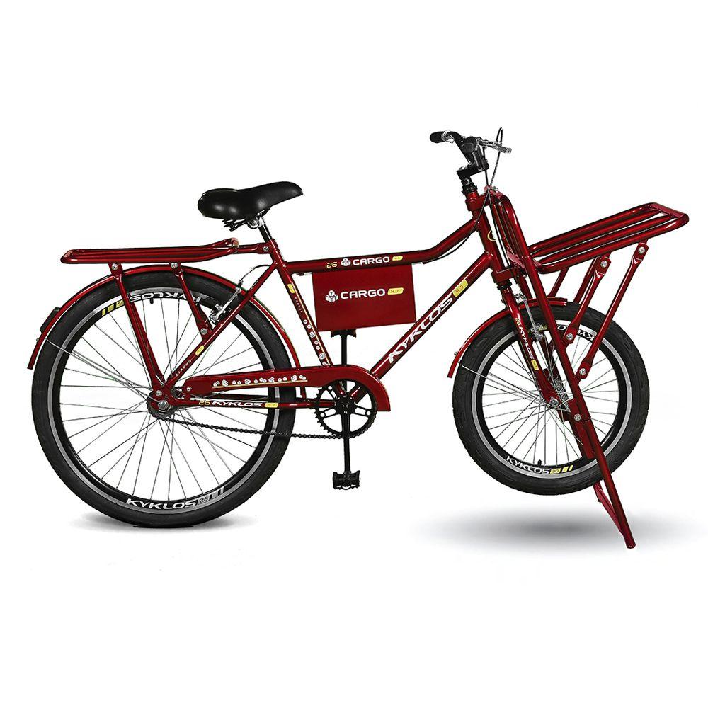 Bicicleta Kyklos Aro 26 Cargo 4.7 A-36 Reforçado Freio Contapedal e V-brake Vermelho
