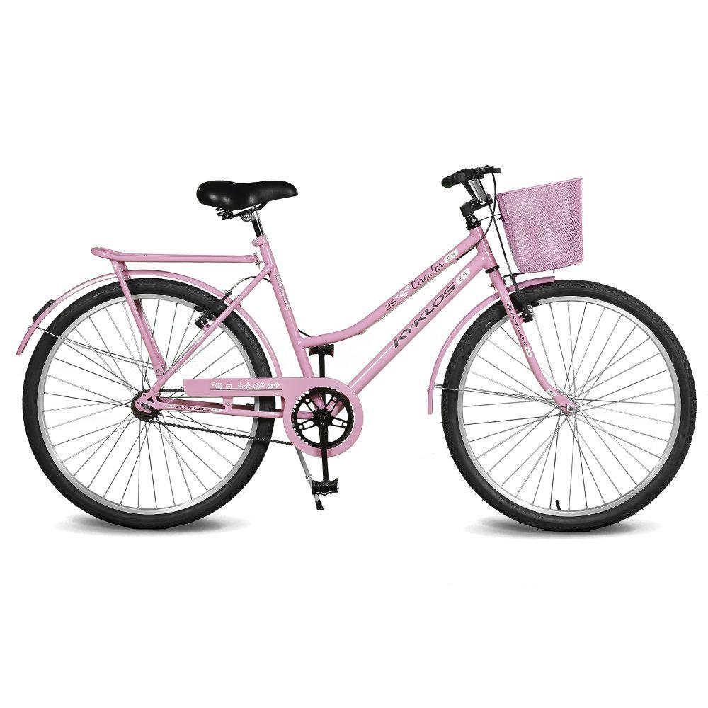 Bicicleta Kyklos Aro 26 Circular 5.4 Freio Manual com Cesta Rosa