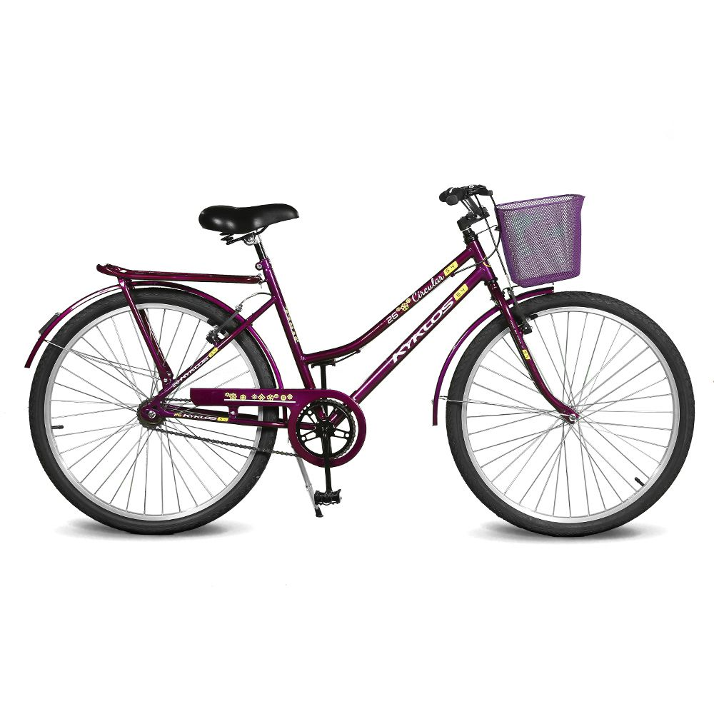 Bicicleta Kyklos Aro 26 Circular 5.4 Freio Manual com Cesta Violeta