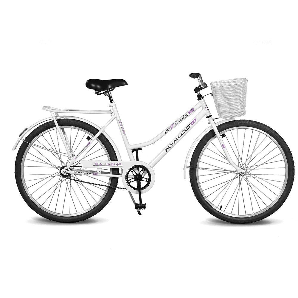 Bicicleta Kyklos Aro 26 Circular 5.5 Freio Contrapedal com Cesta Branco
