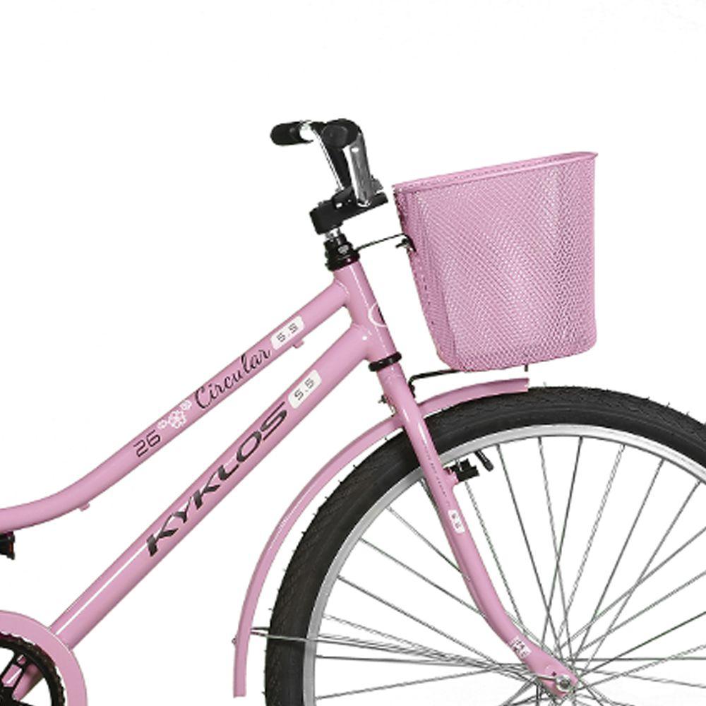 Bicicleta Kyklos Aro 26 Circular 5.5 Freio Contrapedal com Cesta Rosa