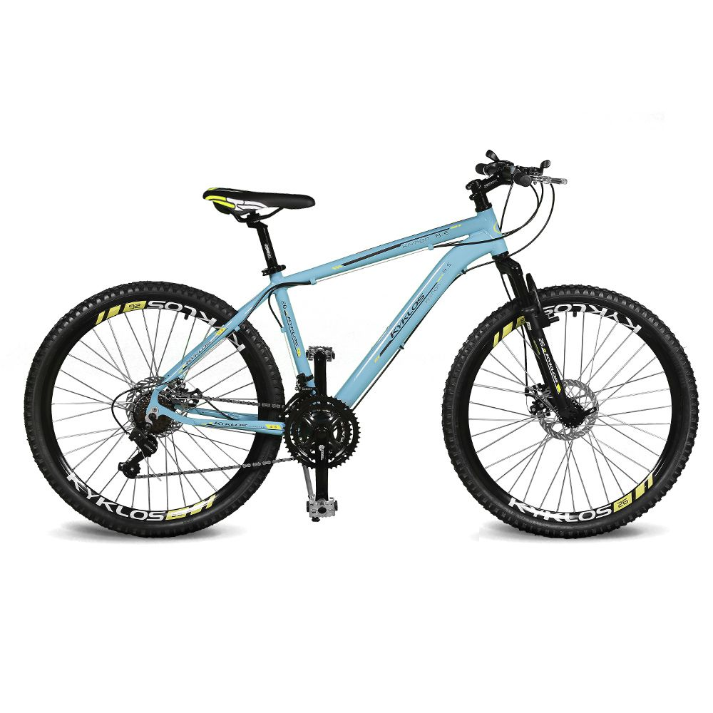 Bicicleta Kyklos Aro 26 Kivnon 8.5 Freio a Disco 21V Azul/Amarelo