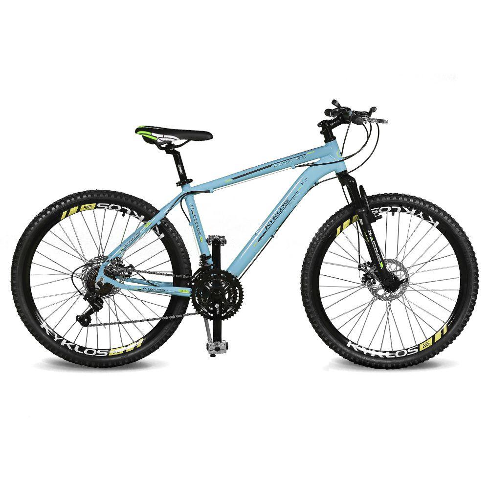 Bicicleta Kyklos Aro 26 Kivnon 8.5 Freio a Disco 21V Azul/Verde