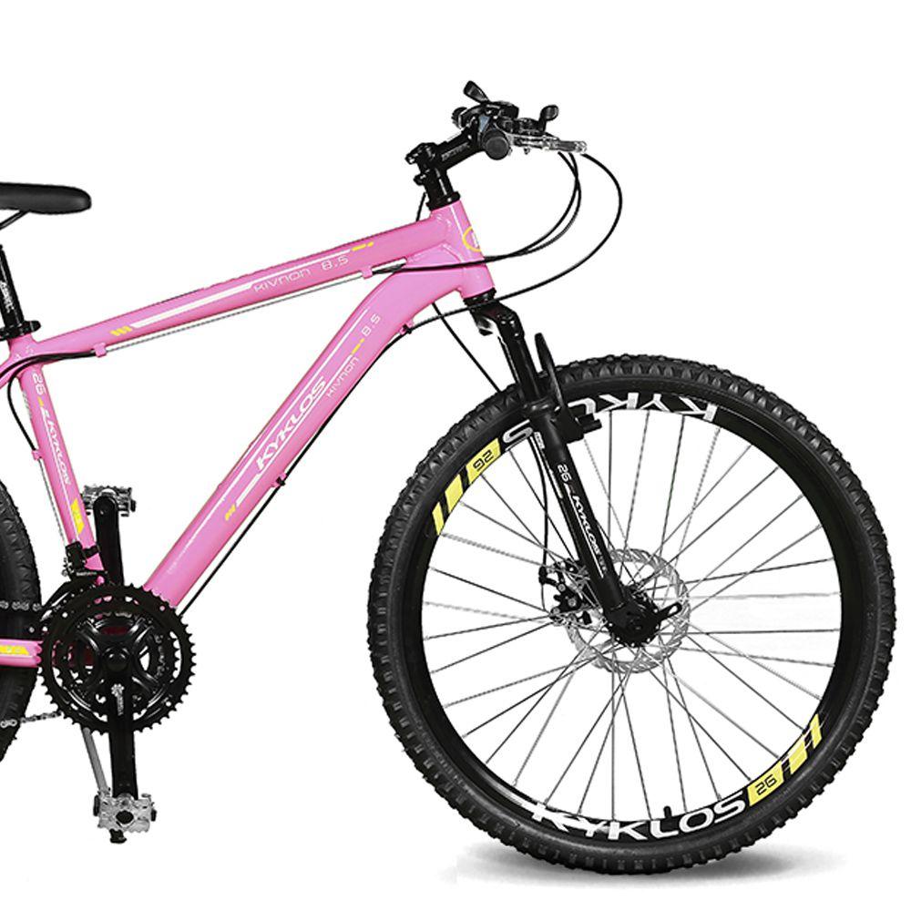 Bicicleta Kyklos Aro 26 Kivnon 8.5 Freio a Disco 21V Rosa/Amarelo