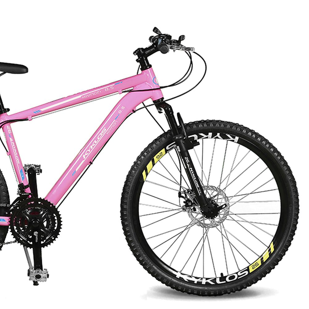Bicicleta Kyklos Aro 26 Kivnon 8.5 Freio a Disco 21V Rosa/Azul