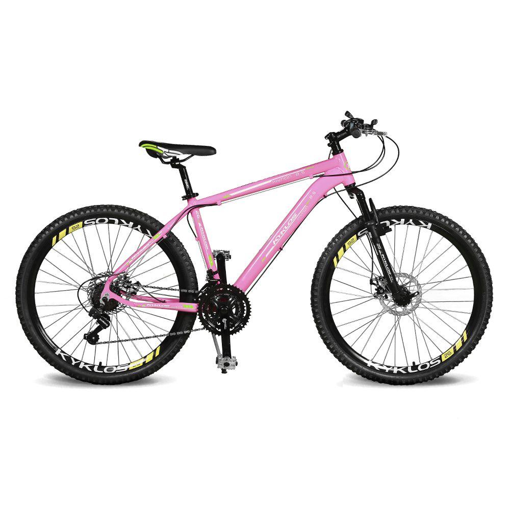 Bicicleta Kyklos Aro 26 Kivnon 8.5 Freio a Disco 21V Rosa/Verde